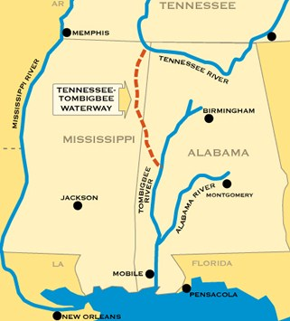 The 234 mile tennesse tombigbee waterway begins at its